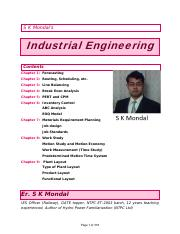 Industrial Engineering by S K Mondal T&Q