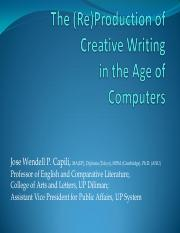 THE (RE)PRODUCTION OF CREATIVE WRITING IN THE AGE OF COMPUTERS