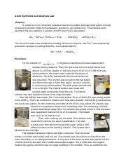 Alum Synthesis and Analysis Lab Report