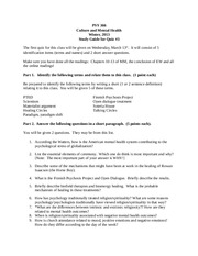 Psy 366 Study Guide for Quiz #3