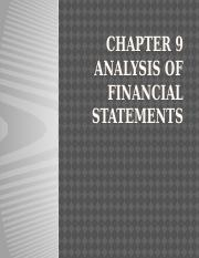 CHAPTER 9 analysis of financial statements
