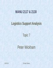 RMIT_MANU2117_ Topic 7_LSA and Supportability Analyses