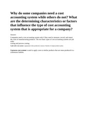 Why do some companies need a cost accounting system while others do not
