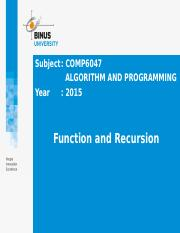 Z00810010220144068COMP6047[L] Pert 20 - Function and Recursion.pptx