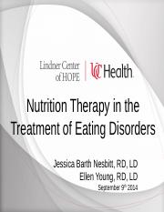 Eating Disorders Presentation UC Nutrition Students September 2014