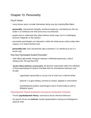 Chapter 13- Personality