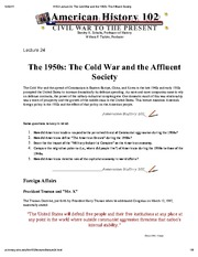 H102 Lecture 24_ The Cold War and the 1950s_ The Affluent Society