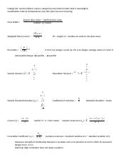 Statistics formula sheet for exam 1