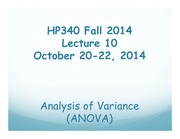HP340 Lecture 10 - One Factor ANOVA