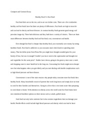 Healthy food Vs Fast foods - Compare and Contrast Essay