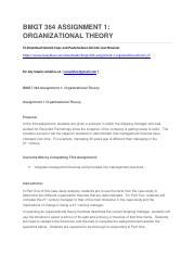 BMGT 364 ASSIGNMENT 1 ORGANIZATIONAL THEORY.docx
