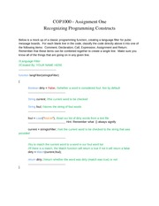 COP1000 - Assignment One Recognizing Programming Constructs