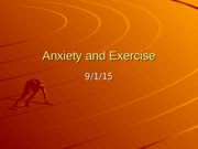3 Anxiety and exercise