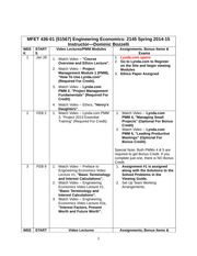 Engineering Economics Course Schedule
