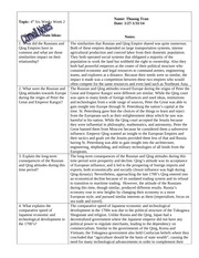 W HIST Cornell Notes- Russian and Qing Empire