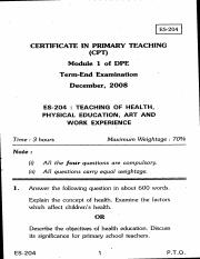(www.entrance-exam.net)-Teaching of health, Physical Education, Art and Work Experience Sample Paper