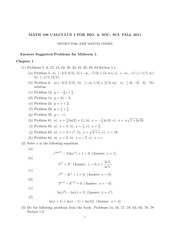 answer key - Suggest Problems for Midterm 1