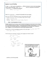 MATH 112 Newton's Law of Cooling Worksheet