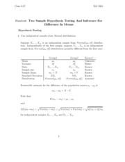 Two Sample Hypothesis Testing And Inference For Difference In Means study guide