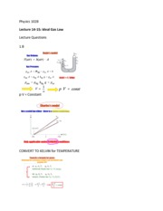 Phys 1028 Ideal Gas Law Lectures 14-15
