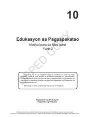 ESP Module - 10 Edukasyon sa Pagpapakatao Modyul para sa Mag