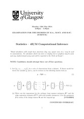 Answers to Computational Inference 2014 Degree Examination (Solutions)