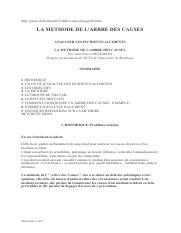 LA METHODE DE L'ARBRE DES CAUSES