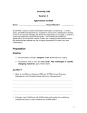 Tutorial  2 Approaches to HRM(3)