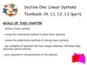 1Linear Systems - Ch. 1.1, 1.2, 1.3 (part)