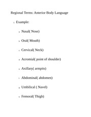 Regional Terms Anterior Body Language Class Notes