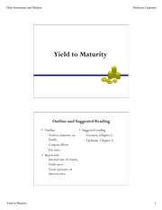 Yield to Maturity Lecture