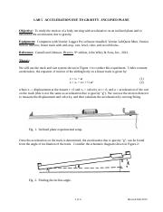 Lab5 Acceleration due to Gravity-Inclined plane
