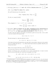 Exam 1 Solution Spring 2007 on Multivariable Calculus