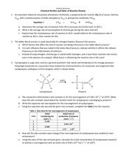 Chemical Kinetics Review Fall 2012
