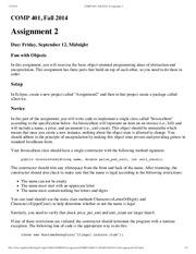 COMP 401, Fall 2014, Assignment 2