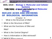 BIOL1010-F2015-Lecture 4-Nucleic Acids-Structure-posted