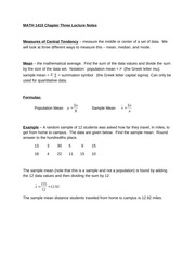 MATH 1410 Chapter Three (Sections 3.1 - 3.2, 3.4 - 3.5) Lecture Notes