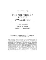 "Bovens, M., Hartt. and Kulpers, S. (2008). ""The politics of policy evaluation,"" In R.E. Goodin, M. M"