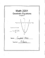 Math 2201 Quadratic Equation Notes