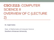 CSCI 2113 - Overview of C