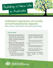 Settlement experiences of recently arrived humanitarian migrants.pdf