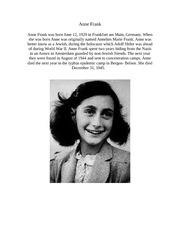 Anne Frank person