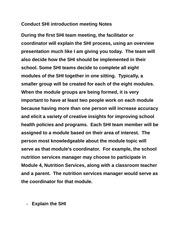 Conduct SHI introduction meeting Notes