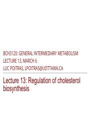 13 - Regulation of Cholesterol Homeostasis