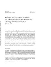 Poli, The Denationalization of Sport - De-ethnicization of the Nation and Identity Deterritorializat