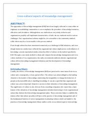 Cross-culture aspects of Knowledge Management.docx