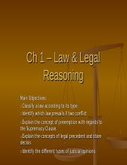 Ch 1 – Law & Legal Reasoning.ppt