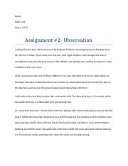 observation assignment #2