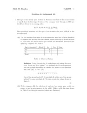 Assignment 6 Solution Fall 2008 on Introduction to Statistics