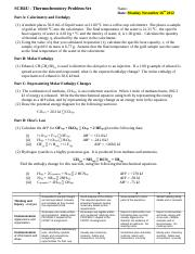 Thermochemistry Problem Set (Fall 2012)